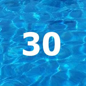 30 on pool water background