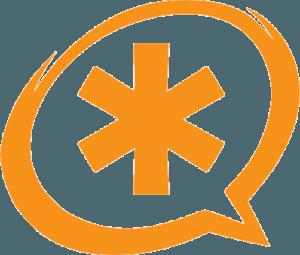 Asterisk Clipart in Speach Bubble Orange