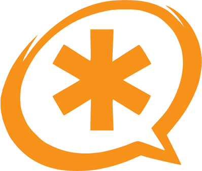 Asterisk Clipart in Speach Bubble Orange