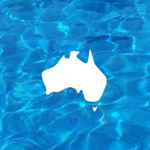 Map of Australia Icon on Pool Water Background