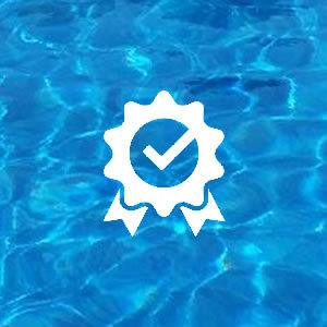 Certificate Icon on Pool Water Background