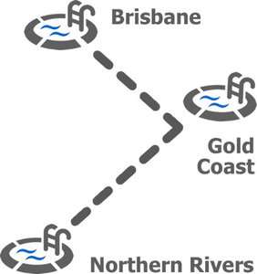 Swimming Pool Icons Connection to Locations Brisbane, Northern Rivers and Gold Coast