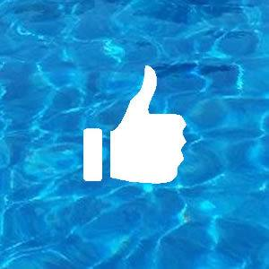 Thumbs Up Icon on Pool Water Background